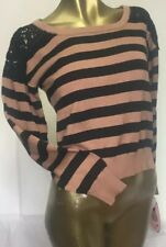 NWT Dolled Up By Fang Long Sleeve Shirt Medium M Earth Tone Striped