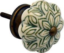 ARMADIO in Ceramica Porta Armadio Manopola Maniglia Set-Vintage Fiore-Verde x1