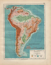 1898 VICTORIAN MAP ~ SOUTH AMERICA PHYSICAL ~ HEIGHT & DEPTHS ~ MOUNTAINS
