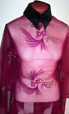 FUCHSIA SHEER EMBROIDERED SEQUIN MESH SAMPLE CUT LYCRA FABRIC 2 YARDS 6 INCHES