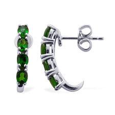 1.55 CWT ~ Oval Chrome Diopside J-Hoop Earings Natural Gemstone