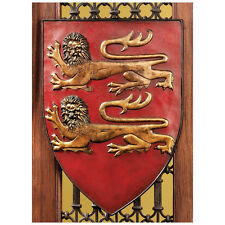 """17"""" French Royal Heraldic Shields Coat of Arms Lions Hand Painted Wall Sculpture"""