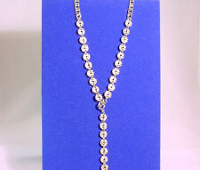 Silver Chain Necklace With Rhinestone Encrusted Discs #N83547S/22