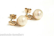 9ct Gold 6mm Rainbow Pearl Drop earrings Made in UK Gift Boxed