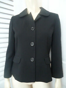 ANN TAYLOR LOFT Sz 4 Blazer Black Stretch Poly Blend Retro Mad 60s Style !!