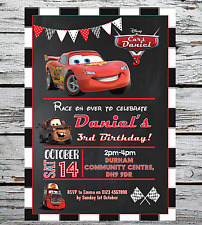 10 Personalised Birthday Party Invitations Disney Cars Lightning McQueen + Envs