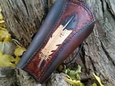 Archery Arm Guard EAGLE  FEATHER Hand tooled Traditional archery  Perfect gift!