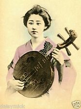 Geisha Girl Japanese Japan Woman Far East Banjo 10x8 Inch Photo Reprint