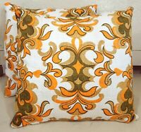 "Pair Barkcloth Boho 16x16"" Throw Pillows Made from Vtg Midcentury Modern Fabric"