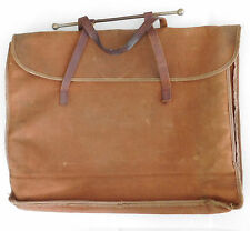 Vintage canvas sheet music case Leather straps documents manuscripts portfolio