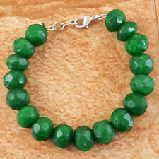 338.50 Cts Earth Mined Green Emerald Round Faceted Beads Handmade Bracelet
