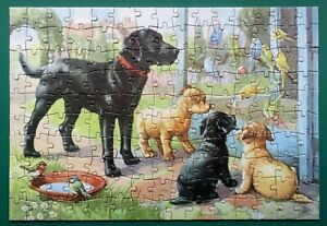 """1960s """"FAMILY FRIENDS"""" JIGSAW PUZZLE BLACK LABRADOR DOG & PUPPIES COMPLETE"""