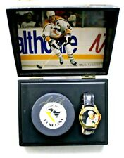 MARIO LEMIEUX Autographed Puck & Fossil Limited Edition Watch JSA COA