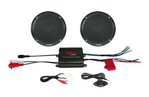 "Pyle PLMRKT2B 2 Ch 400 W Waterproof Micro Marine Amplifier& 6.5"" Speaker System"