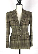 RALPH LAUREN Blazer Jacket Sz 4P Plaid Brown Equestrian Horse 2 Button Wool