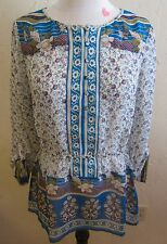 LUCKY Brand Women's Size Medium Savannah Gypsy Blouse 3/4 Sleeves Blues/Floral