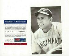 Johnny Vander Meer Autographed Baseball Postcard Photo Cincinnati Reds PSA COA