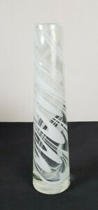 "Vintage Art Glass Tall Tapered Bud Stem Vase White Swirls Handblown Pontil 12"""