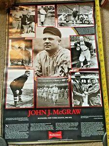 1987 John J. McGraw San Francisco Giants Baseball Budweiser Beer Poster