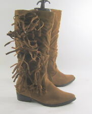 "Tan 1.5"" Thick Low Heel Pointy Toe Side Frill Mid-Calf Sexy Boot Size 9"