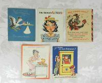 Lot of 5 Vintage BirthdayGreeting Cards Novo Laugh American Greeting
