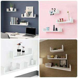 Set of 3 U Shape  Wall Mounted Floating Shelves Storage Room Display Shelf White