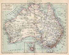 B6233 Australia - Carta geografica antica del 1901 - Old map