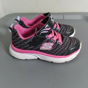 Skechers Wavy Lites Little Kids Youth Size 9 Toddler Shoes Black/Pink Sneakers