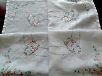 """VINTAGE HAND EMBROIDERED """" PASTEL DAISIES """"  WHITE LINEN TABLE CLOTH 31x32"""""""