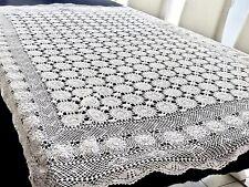 Beautiful Vintage White Cotton Tablecloth 180 X 135 Cm.