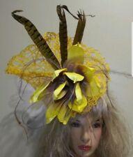 Fascinator hatinator hat races wedding yellow - one off design