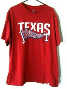 Texas Rangers Baseball Mens Red T-Shirt XL Majestic Short Sleeves