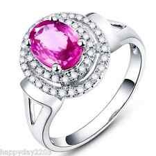 Fantastic 1.76ct Natural Pink Sapphire Diamond Fine Ring In Solid 14K White Gold