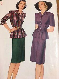 OOAK Vintage Womens Two Piece Dress Pattern 40/50s Simplicity 1110 Sz 18 Bust 36