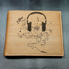 Headphones with Music Notes Men's Wallet Laser Engraved Gift