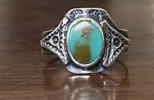 Vintage Fred Harvey Era Native American Turquoise Sterling Silver Stamped Ring