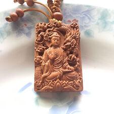 Buddha Dragon Shakyamuni Statue Wood Carving Chinese Pendant Key Chain Keyring