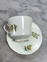 Duchess Fine Bone China Month of OCTOBER Floral Elegant Gilded Tea Cup Saucer