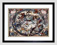 OLD STAR MAP CELLARIUS SOUTHERN HEMISPHERE CONSTELLATIONS FRAMED PRINT B12X3927
