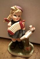 Vintage Napcoware Japan Girl Figurine Playing Accordion With Bird