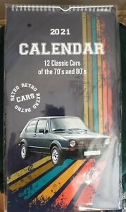 2021 WALL HANGING CALENDAR 12 CLASSIC CARS OF THE 70'S AND 80'S RETRO  23×42 CM
