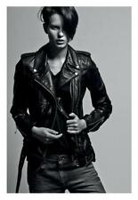 R13 black leather motorcycle classic jacket zippers cropped NEW $1595 size M