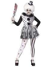 Killer Clown Womens Adult Evil Circus Jester Halloween Costume-S/M