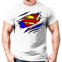 Mens Muscle Fit T Shirt - Bodybuilding Crossfit Gym Top For Superman Fans