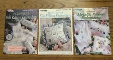 3 Lesiure Arts Silk Ribbon Embroidery Patterns Booklets Crafts