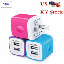 3Pcs Universal 2.1A Dual USB Ports Charging Block Wall Charger Cube For iPhone