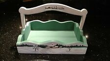 Hand Painted Wood Basket Winter Holiday Christmas Snow White Green Interior