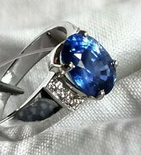 Natural Sapphire Engagement 18k white gold Diamond Ring, estate vintage, ladies