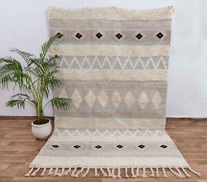 Handmade Wool Cotton Bohemian Style Beige White handwoven Moroccan Style MD-14