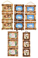 4'x6'Vintage Shabby Chic Style Bamboo Wooden 3 Hanging Multi Picture Photo frame